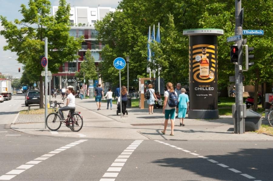Die Ganzsäule oder die Litfaßsäule als Außenwerbung - München Schleissheimer Str Elisabethstr Gs